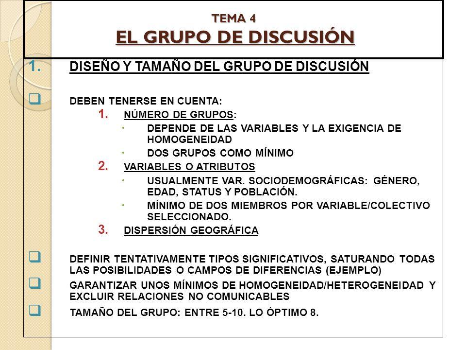 TEMA 4 EL GRUPO DE DISCUSIÓN