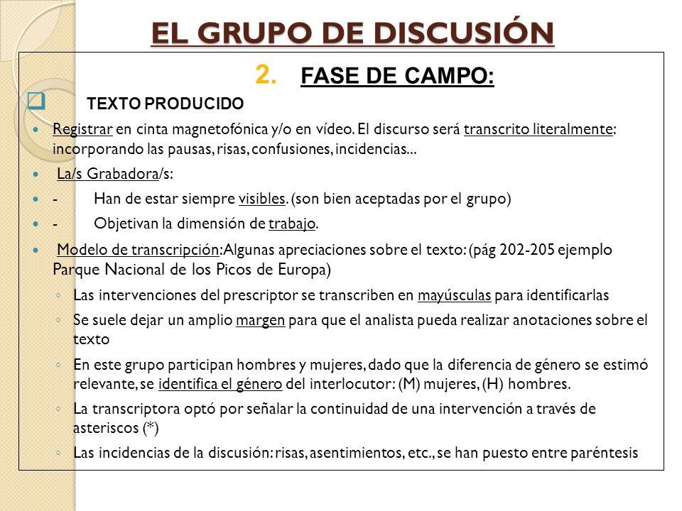 EL GRUPO DE DISCUSIÓN FASE DE CAMPO: TEXTO PRODUCIDO