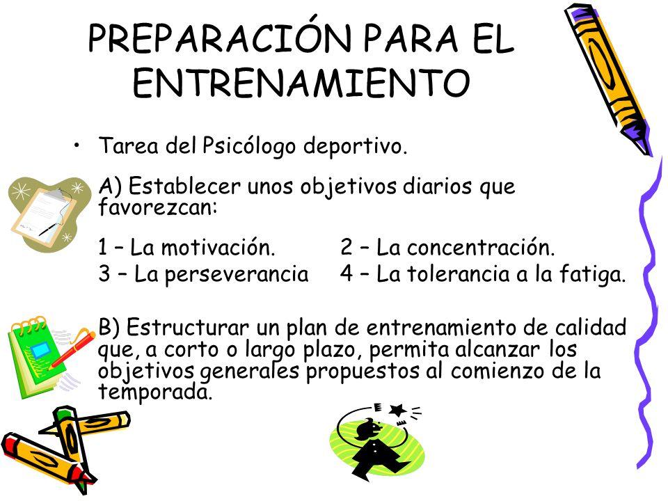 PREPARACIÓN PARA EL ENTRENAMIENTO