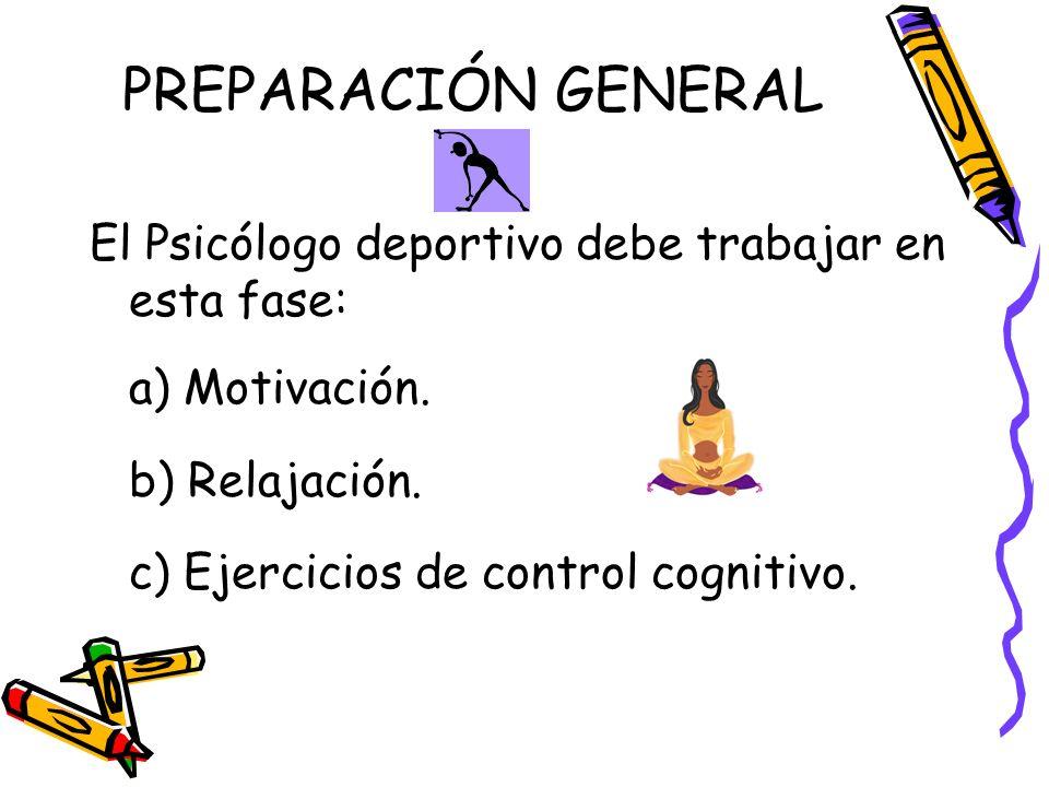 PREPARACIÓN GENERAL El Psicólogo deportivo debe trabajar en esta fase:
