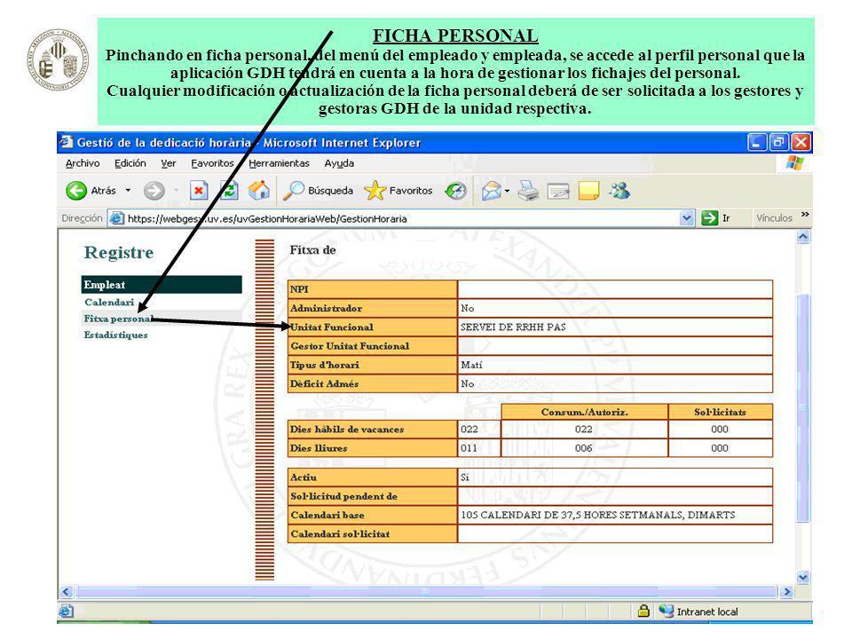 FICHA PERSONAL Pinchando en ficha personal, del menú del empleado y empleada, se accede al perfil personal que la aplicación GDH tendrá en cuenta a la hora de gestionar los fichajes del personal.