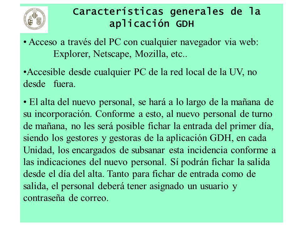 Características generales de la aplicación GDH