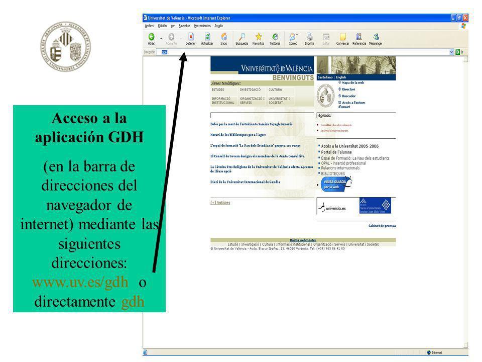 Acceso a la aplicación GDH