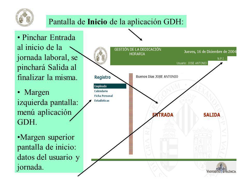 Pantalla de Inicio de la aplicación GDH: