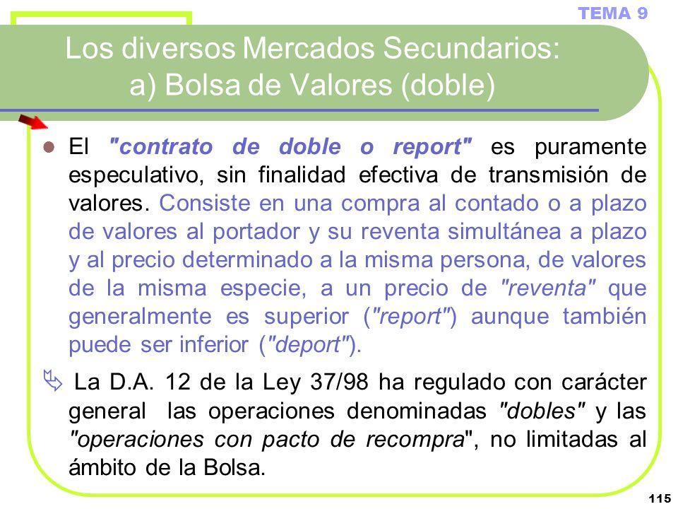 Los diversos Mercados Secundarios: a) Bolsa de Valores (doble)
