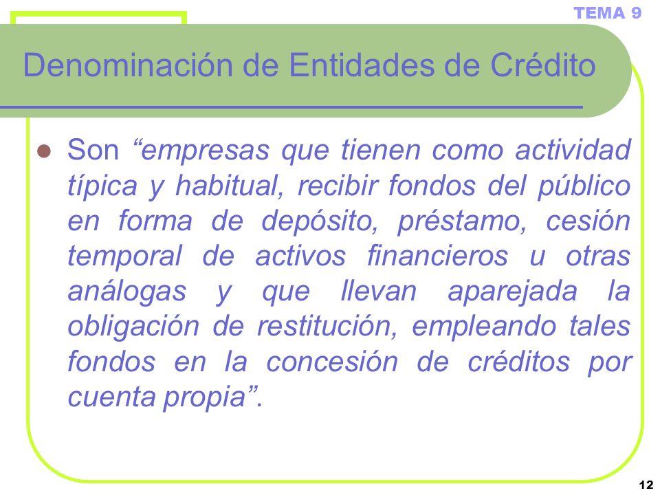 Denominación de Entidades de Crédito