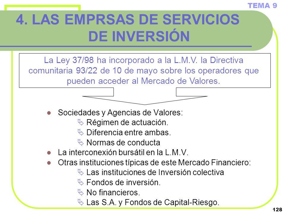 4. LAS EMPRSAS DE SERVICIOS DE INVERSIÓN
