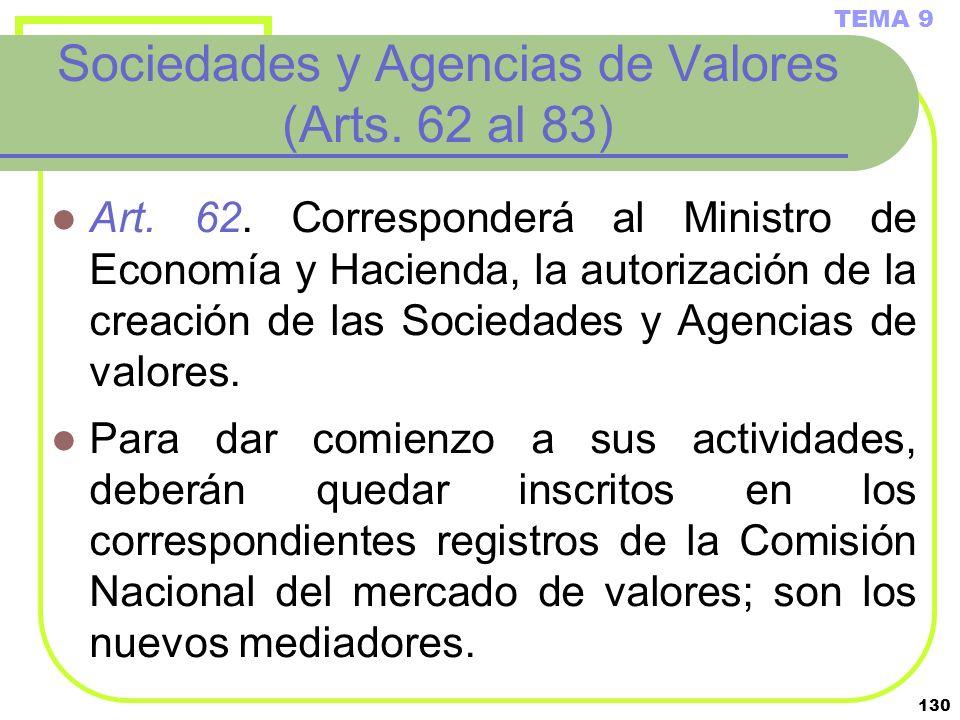 Sociedades y Agencias de Valores (Arts. 62 al 83)
