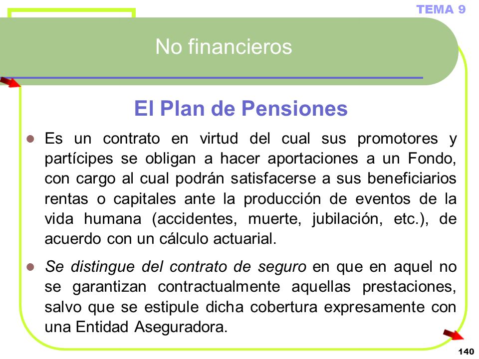 No financieros El Plan de Pensiones