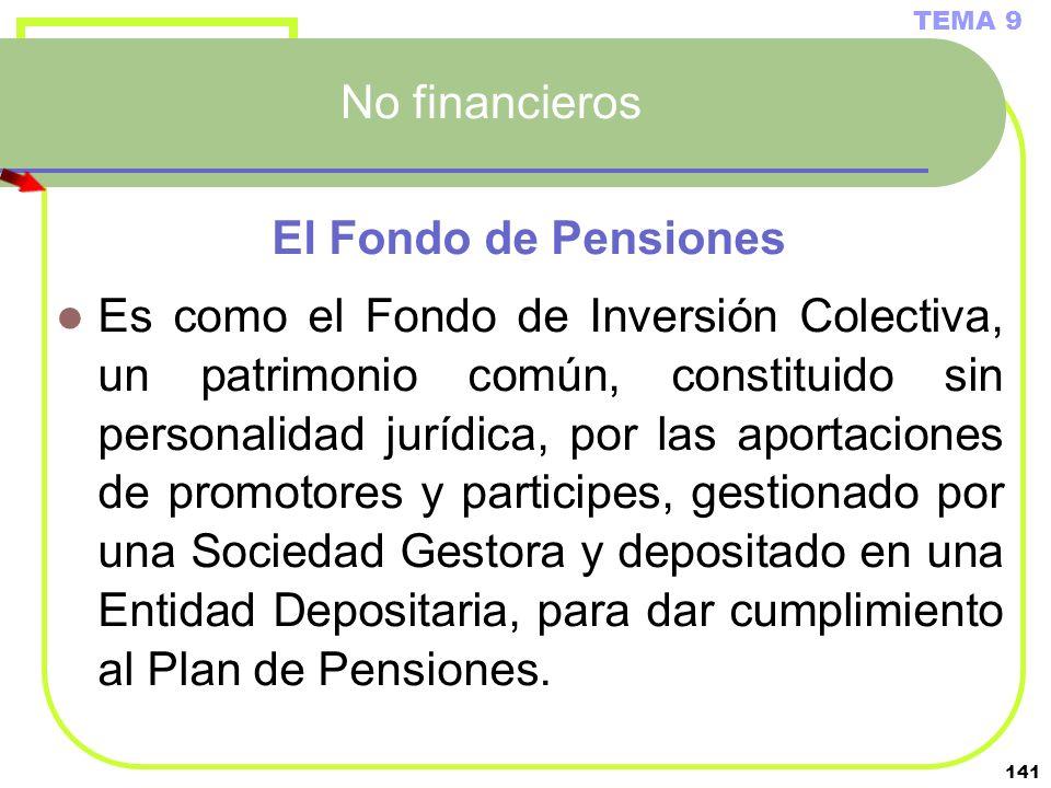 No financieros El Fondo de Pensiones