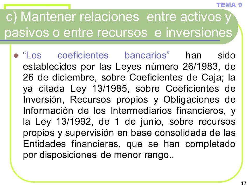TEMA 9 c) Mantener relaciones entre activos y pasivos o entre recursos e inversiones.