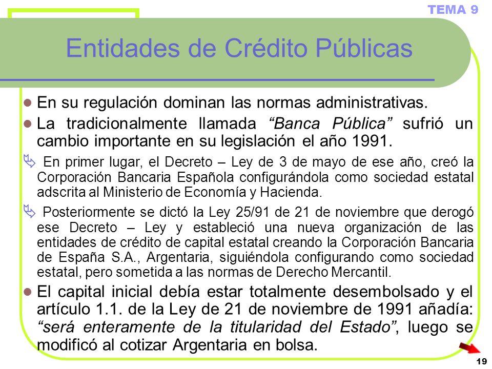 Entidades de Crédito Públicas