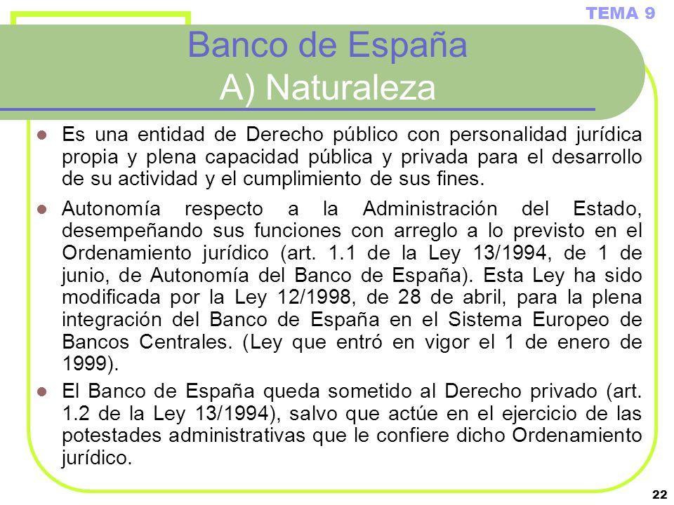 Banco de España A) Naturaleza