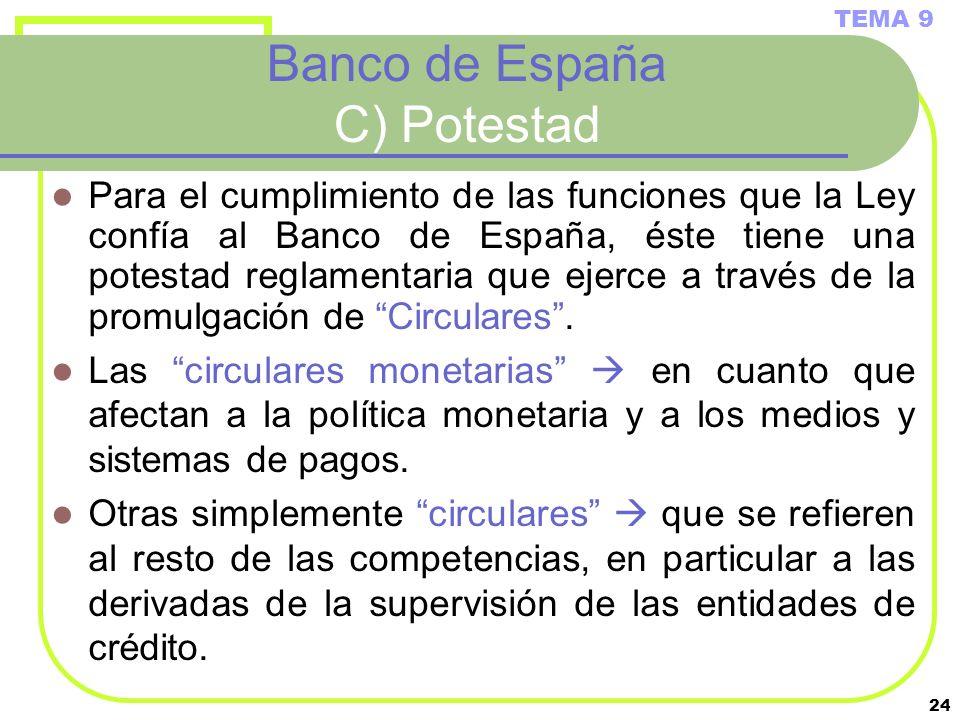 Banco de España C) Potestad