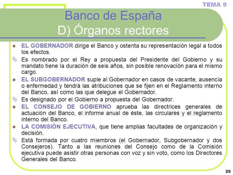 Banco de España D) Órganos rectores