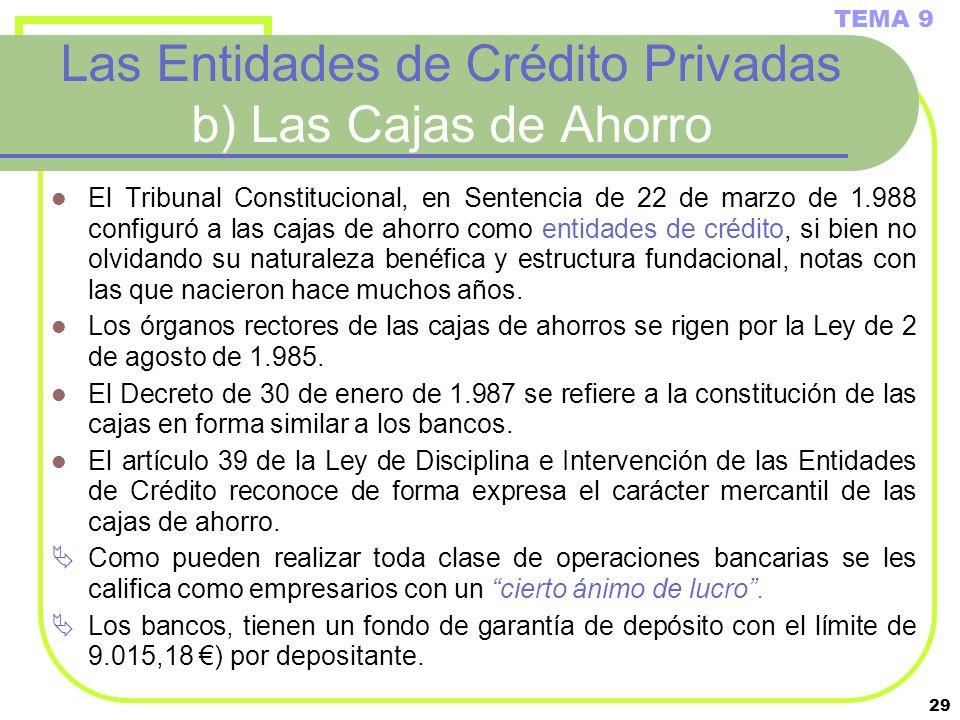 Las Entidades de Crédito Privadas b) Las Cajas de Ahorro