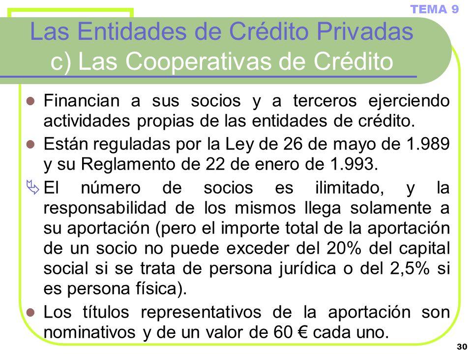 Las Entidades de Crédito Privadas c) Las Cooperativas de Crédito