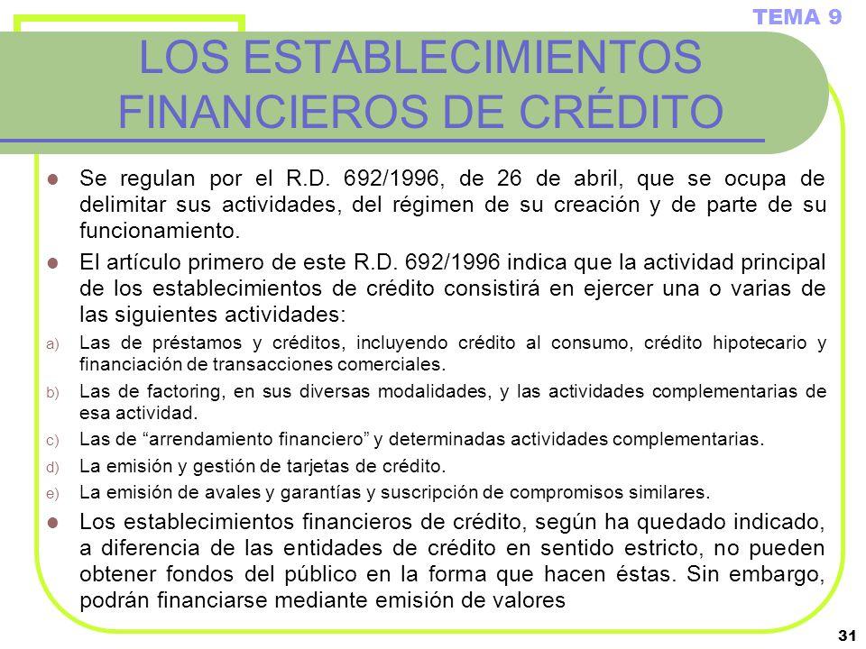 LOS ESTABLECIMIENTOS FINANCIEROS DE CRÉDITO
