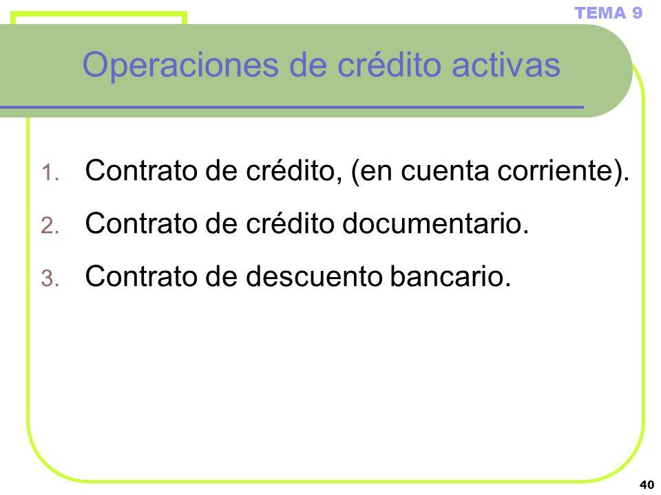 Operaciones de crédito activas