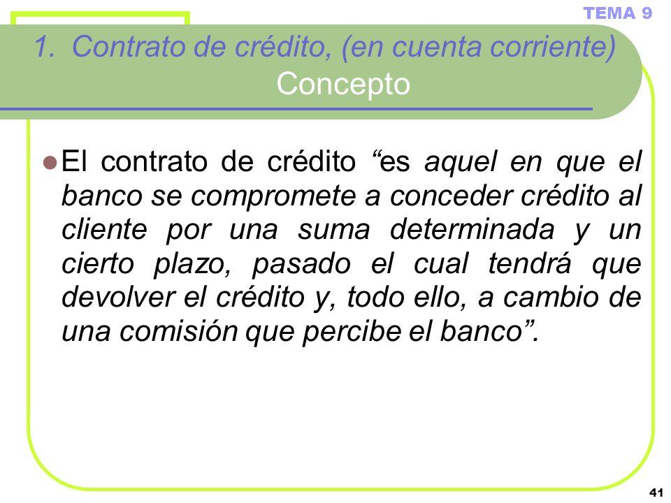 Contrato de crédito, (en cuenta corriente) Concepto