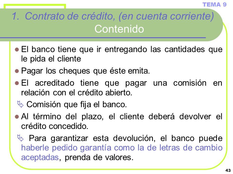 Contrato de crédito, (en cuenta corriente) Contenido