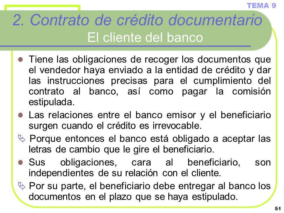 2. Contrato de crédito documentario El cliente del banco