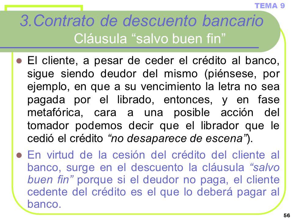 3.Contrato de descuento bancario Cláusula salvo buen fin