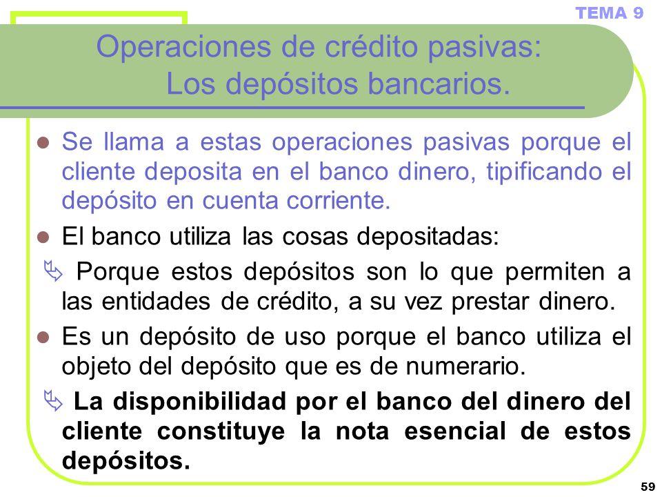 Operaciones de crédito pasivas: Los depósitos bancarios.