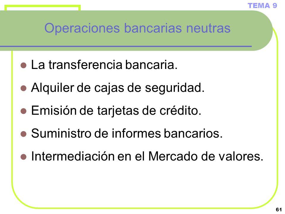 Operaciones bancarias neutras