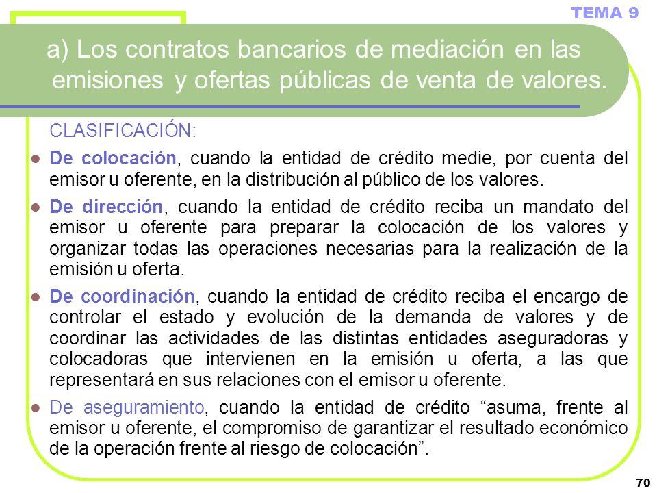 TEMA 9a) Los contratos bancarios de mediación en las emisiones y ofertas públicas de venta de valores.