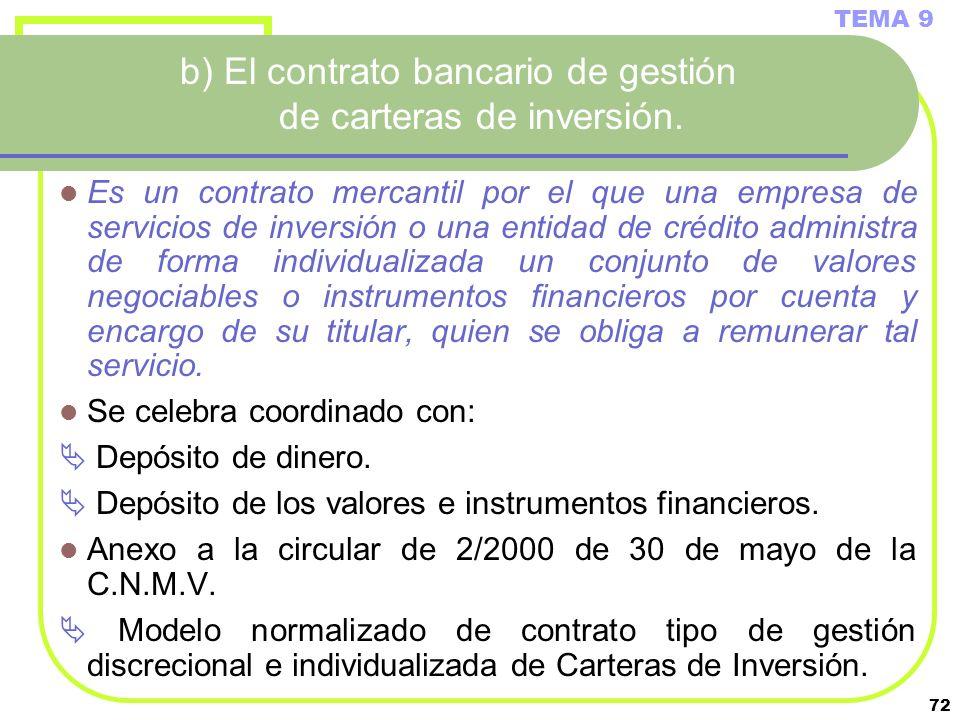 b) El contrato bancario de gestión de carteras de inversión.