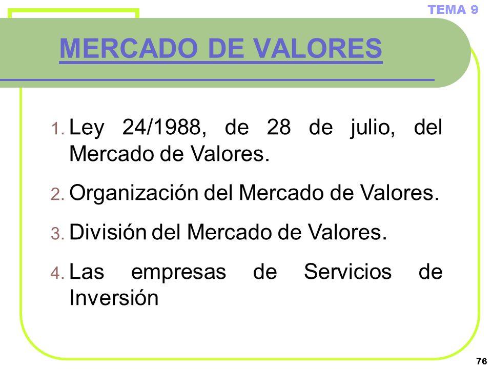 TEMA 9 MERCADO DE VALORES. Ley 24/1988, de 28 de julio, del Mercado de Valores. Organización del Mercado de Valores.