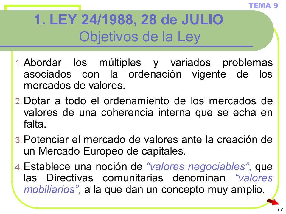 1. LEY 24/1988, 28 de JULIO Objetivos de la Ley