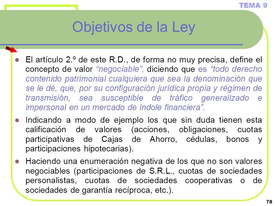 TEMA 9 Objetivos de la Ley.