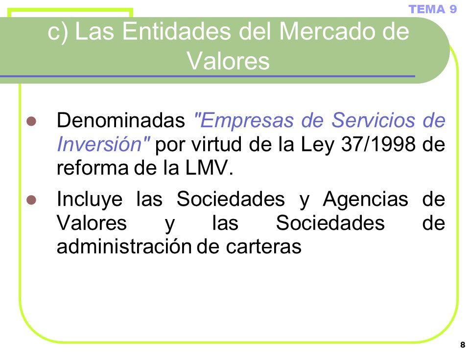 c) Las Entidades del Mercado de Valores