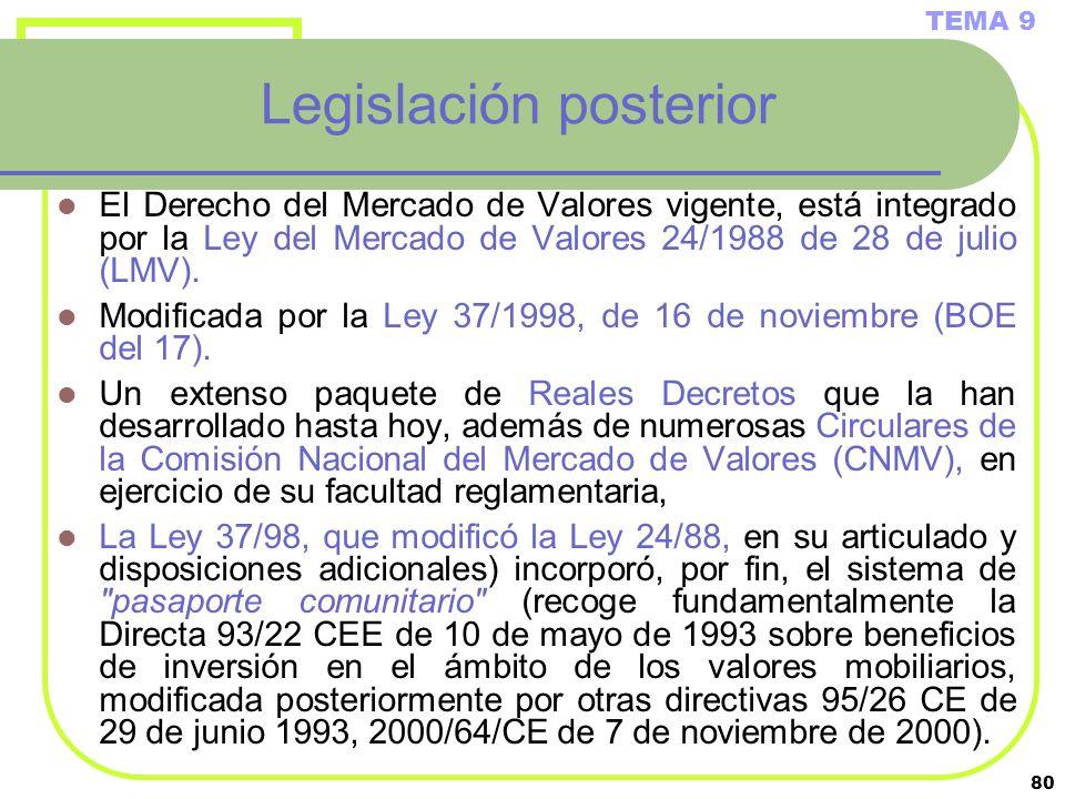 Legislación posterior