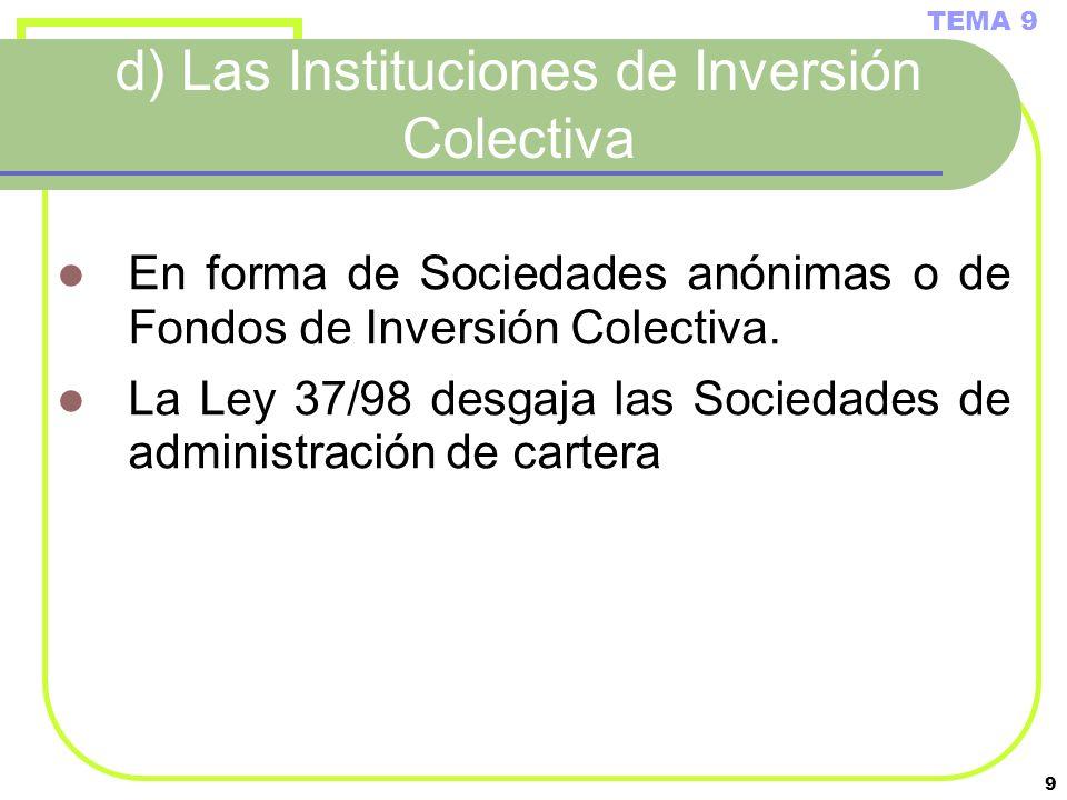 d) Las Instituciones de Inversión Colectiva