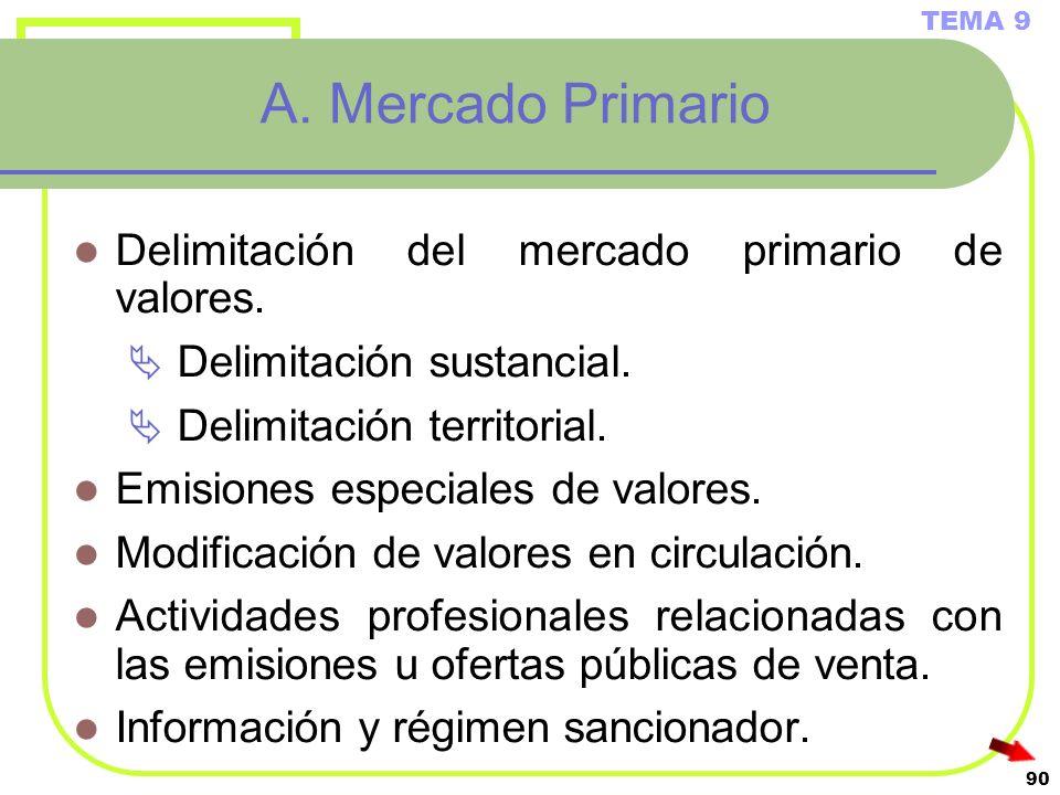A. Mercado Primario Delimitación del mercado primario de valores.