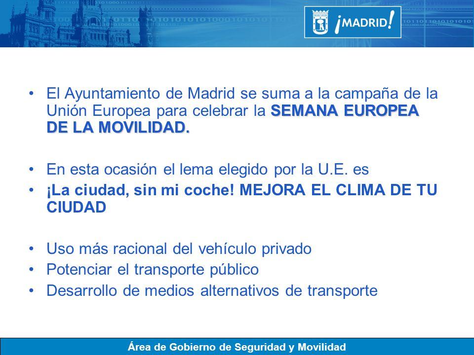 El Ayuntamiento de Madrid se suma a la campaña de la Unión Europea para celebrar la SEMANA EUROPEA DE LA MOVILIDAD.