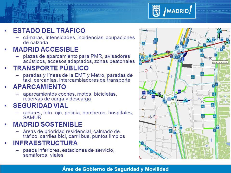 ESTADO DEL TRÁFICO MADRID ACCESIBLE TRANSPORTE PÚBLICO APARCAMIENTO