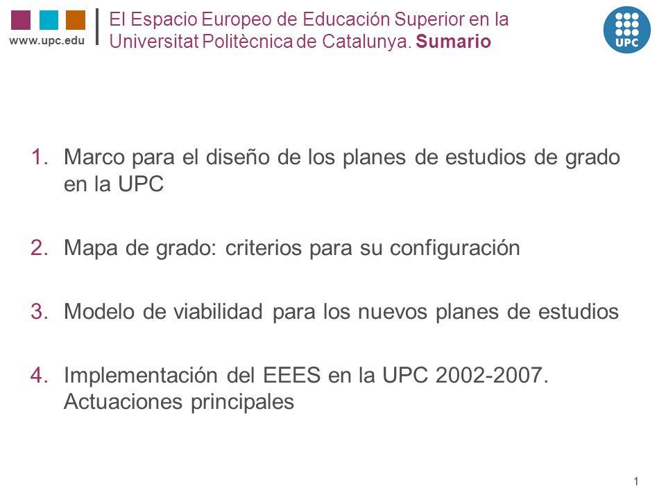 Marco para el diseño de los planes de estudios de grado en la UPC