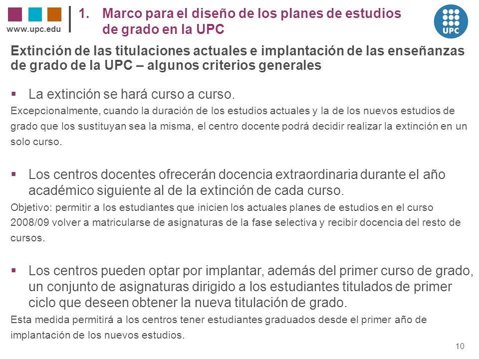 1. Marco para el diseño de los planes de estudios de grado en la UPC