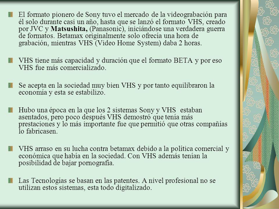 El formato pionero de Sony tuvo el mercado de la videograbación para él solo durante casi un año, hasta que se lanzó el formato VHS, creado por JVC y Matsushita, (Panasonic), iniciándose una verdadera guerra de formatos. Betamax originalmente solo ofrecía una hora de grabación, mientras VHS (Video Home System) daba 2 horas.