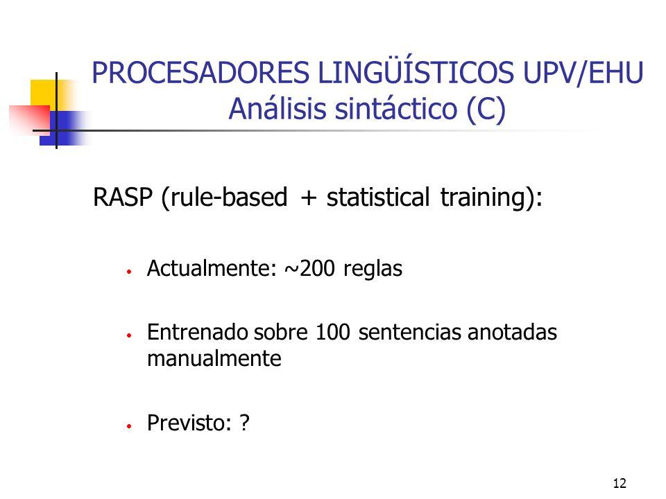 PROCESADORES LINGÜÍSTICOS UPV/EHU Análisis sintáctico (C)
