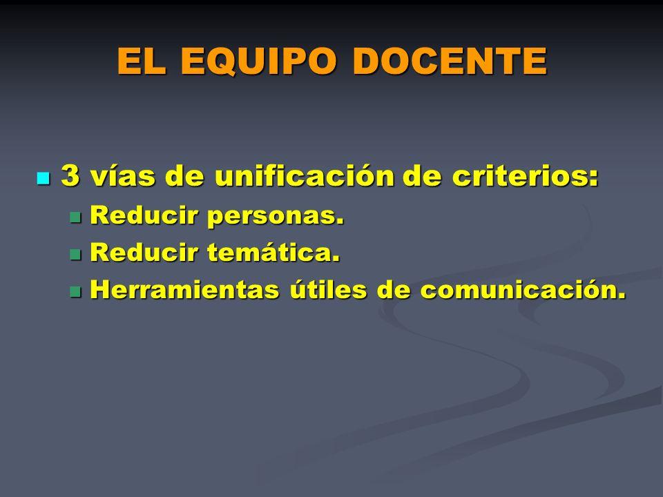 EL EQUIPO DOCENTE 3 vías de unificación de criterios: