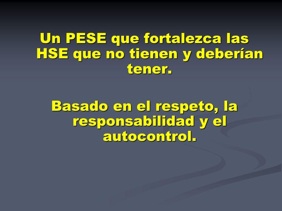 Un PESE que fortalezca las HSE que no tienen y deberían tener.