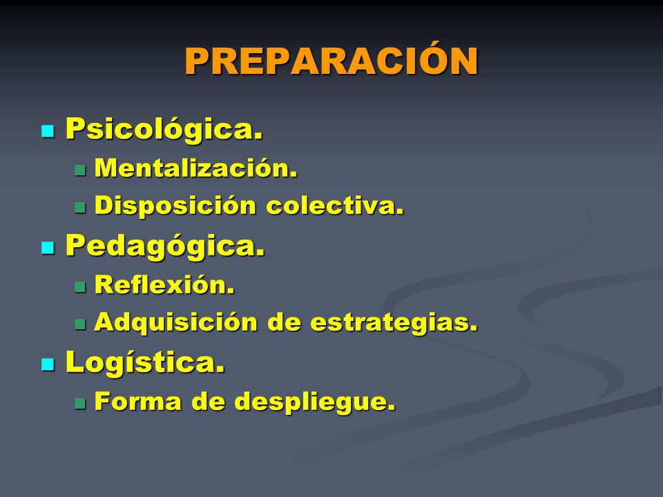 PREPARACIÓN Psicológica. Pedagógica. Logística. Mentalización.