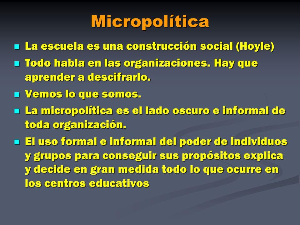 Micropolítica La escuela es una construcción social (Hoyle)