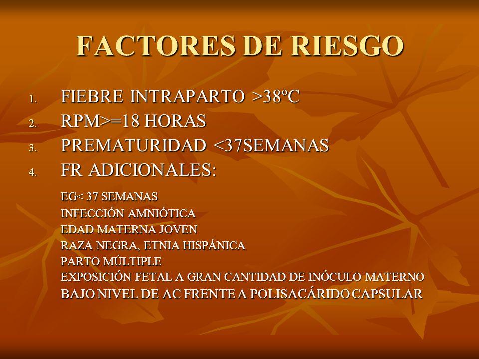 FACTORES DE RIESGO FIEBRE INTRAPARTO >38ºC RPM>=18 HORAS