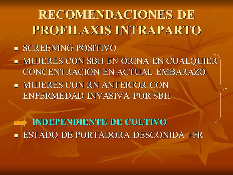 RECOMENDACIONES DE PROFILAXIS INTRAPARTO
